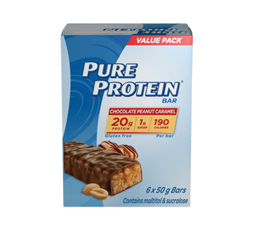 Image of product Pure Protein - Protein Bars, 6 x 50 g, Chocolate Peanut Caramel