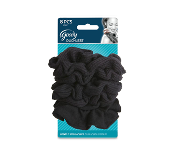 Ouchless Scrunchie, 8 units, Black