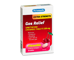 Image of product Personnelle - Gas Relief Extra Strength Simethicone Chewable Tablets 125 mg, 18 units, Cherry Cream