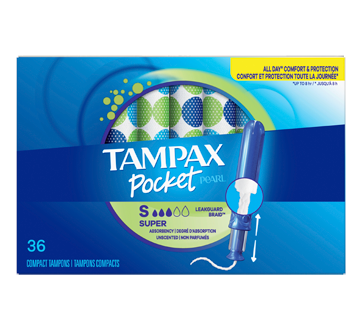 Pocket Pearl Compact Plastic Tampons Super Unscented, 36 units