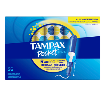 Pocket Pearl Compact Plastic Tampons Regular Unscented, 36 units