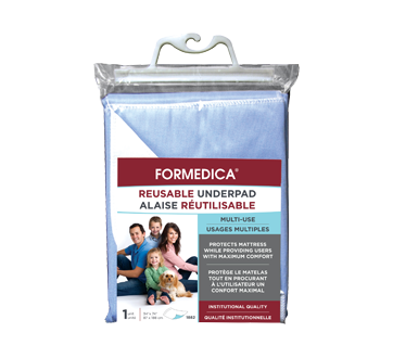 Image of product Formedica - Reusable Underpad, 1 unit, 87 x 188 cm, Blue Waterproof Surface, Backing: White