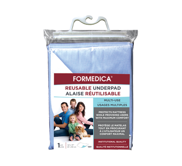 Image of product Formedica - Reusable Underpad, 1 unit, 87 x 94 cm, Blue Waterproof Surface, Backing: White