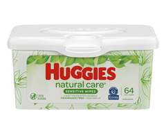 Image of product Huggies - Natural Care Wipes, 64 wipes, Unscented