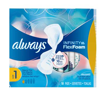 Infinity FlexFoam Pads for Women, Regular Absorbency, 18 units, Unscented