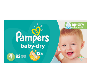 Baby-Dry Diapers, 92 units, Size 4