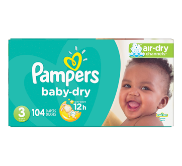 Baby-Dry Diapers, 104 units, Size 3