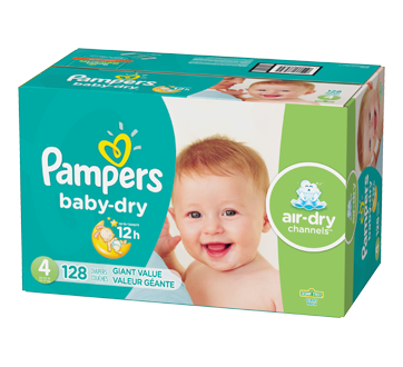 Baby Dry Diapers, 128 units, Size 4, Giant Pack