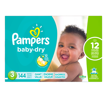 Baby-Dry Diapers, 144 units, Size 3