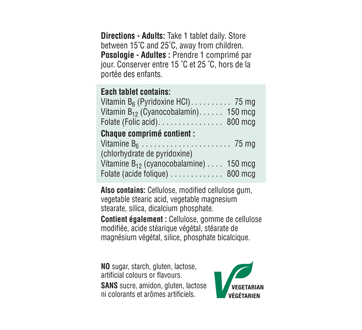 Image 3 of product Jamieson - Vitamin B6 + B12 and Folic Acid, 90 units