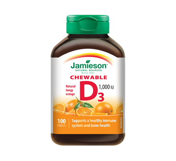 Image 1 of product Jamieson - Chewable Vitamin D 1,000 IU Tangy Orange, 100 units
