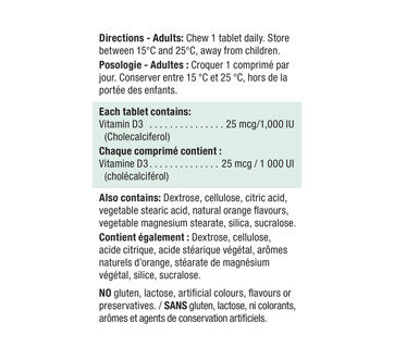 Image 2 of product Jamieson - Chewable Vitamin D 1,000 IU Tangy Orange, 100 units