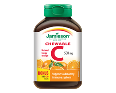 Image of product Jamieson - Chewable Vitamin C  500 mg - Tangy Orange  , 100+20 units