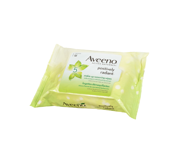 Image 2 of product Aveeno - Positively Radiant Make-up Removing Wipes, 25 units