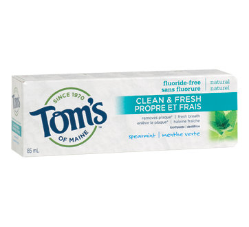 Clean & Fresh Fluoride-Free Toothpast, 85 ml, Spearmint