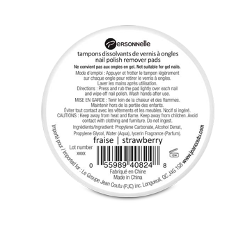 Image 2 of product Personnelle Cosmetics - Nail Polish Remover Pads, 32 units, Strawberry