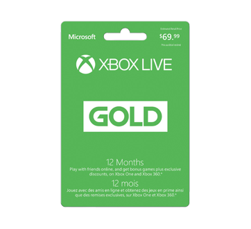 Carte Xbox Live Gold 12 Mois.Microsoft Xbox Live Gold 12 Month Membership 1 Unit