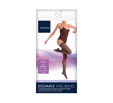 Image of product Sigvaris - Sheer Fashion for Women 120, Thigh, size B, Black