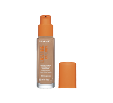 Image 2 of product Rimmel London - Lasting Radiance Anti-Pollution Foundation, 30 ml 103 True Ivory
