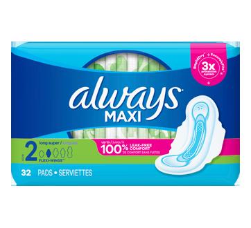 Maxi serviettes régulières, 32 unités