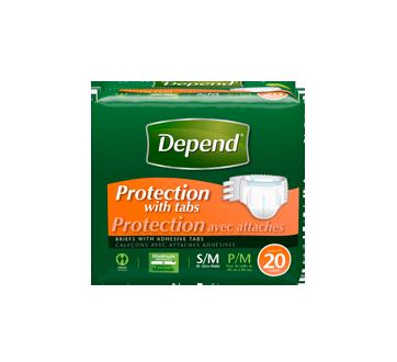 Depend protection avec attaches caleçons, 20 unités, petit-moyen