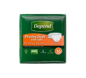 Depend protection avec attaches caleçons, 16 unités, grand-très grand