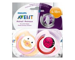 Image du produit Avent - Suces classiques, 2 unités, motifs d'animaux