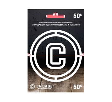 Carte-cadeau La Cage Brasserie Sportive de 50$, 1 unité