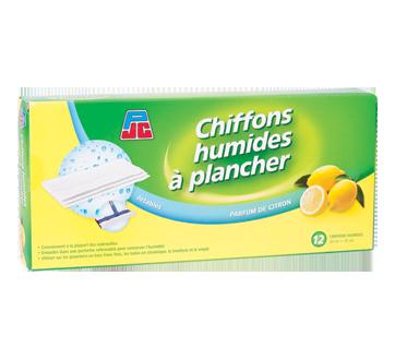 Chiffons humides à plancher, 12 unités, citron