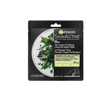 SkinActive masque tissu charbon super purificateur, 32 ml