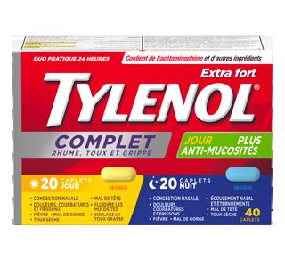 TylenolComplet Rhume, Toux et Grippe extra fort formules jour/nuit, 40 unités