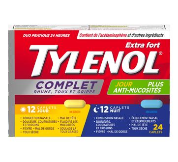 Image du produit Tylenol - Tylenol Complet Rhume, Toux et Grippe extra fort formules jour/nuit, 24 unités