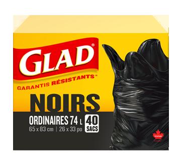 Sacs à ordures ordinaires à nœud facile, 40 unités