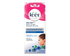 Image du produit Veet - Bandes de cire avec Easy Grip formule sensible visage, 12 unités