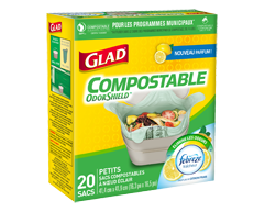 Image du produit Glad - Compostable OdorShield sacs compostables à nœud facile, 20 unités, petits, parfum de citron