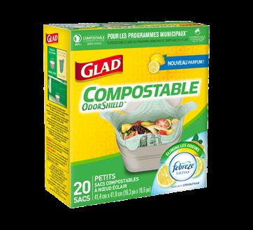 Compostable OdorShield sacs compostables à nœud facile, 20 unités, petits, parfum de citron