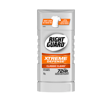 Right Guard Xtreme Defense antisudorifique, 73 g, Classic Clean