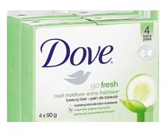 Image du produit Dove - Pain de beauté, peau sensible, 4 x 90 g, soins fraîcheur