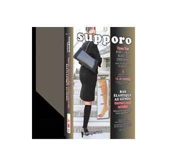 Image du produit Supporo - Bas genoux élastique ouvert aux orteils, 16-20 mmhg, très très grand, 1 unité, noir