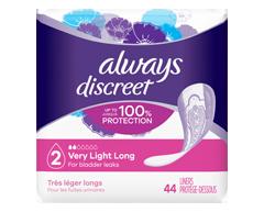 Image du produit Always - Discreet protège-dessous d'incontinence, absorption très légère, 44 unités, longs