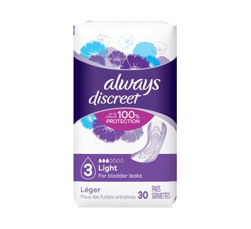 Discreet protège-dessous d'incontinence, ultra-minces, 30 unités, réguliers
