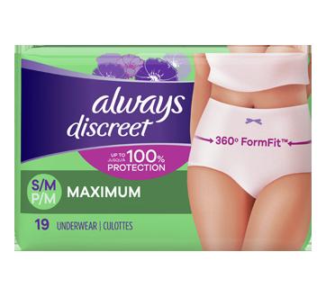 Discreet sous-vêtements d'incontinence, absorption maximale, 19 unités, petit/moyen
