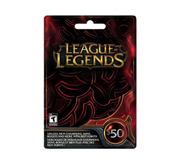 carte cadeau league of legends de 50 incomm cartes jeux jean coutu. Black Bedroom Furniture Sets. Home Design Ideas