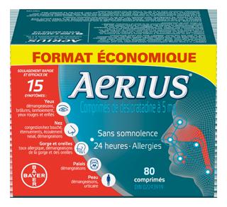 Aerius allergies comprimés de desloratadine 5 mg, 80 unités