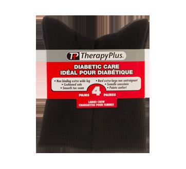 Image du produit Therapy Plus - Chaussettes pour diabétique mi-jambe femme, 4 paires, 9-11 noir