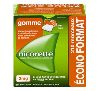 Gomme à la nicotine, 210 units, 2 mg, fruit frais