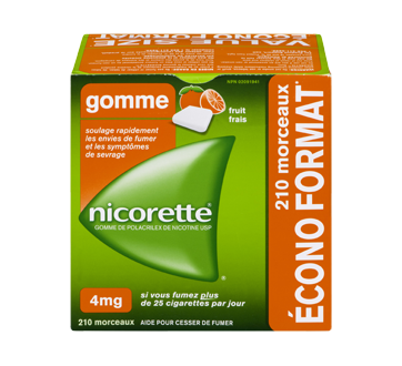 Image 1 du produit Nicorette - Gomme à la nicotine, 210 units, 4 mg, fruit frais