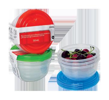 Contenants pour aliments avec couvercles, 3 x 350 ml