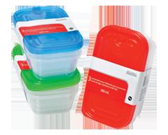 Image du produit Home Exclusives - Contenants pour aliments avec couvercles, 3 x 600 ml