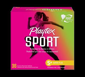 Tampons Playtex Sport en plastique, 36 unités, super plus, non parfumés